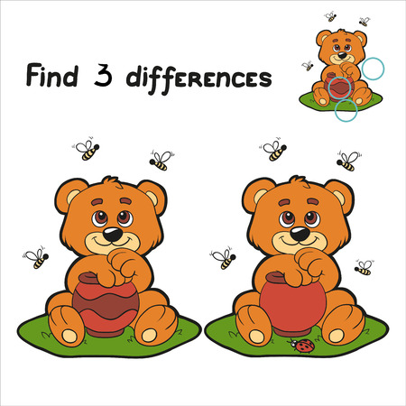Find 3 differences (bear) Vector