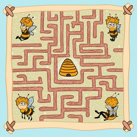 abeja caricatura: Laberinto juego (las abejas)