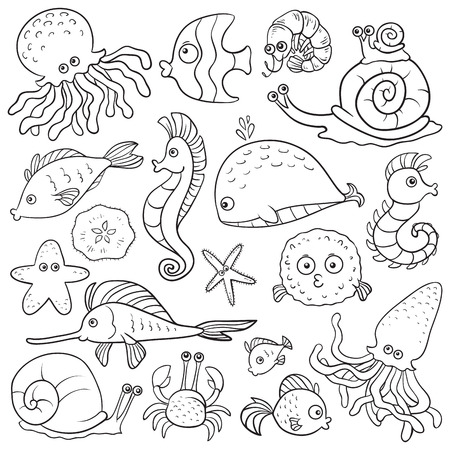 Coloring book (sea life) Vector