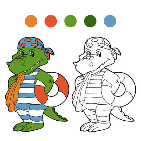 Coloring book (crocodile) Vector
