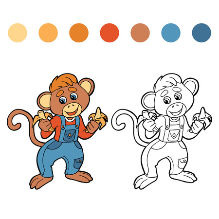 Coloring book (monkey) Vector