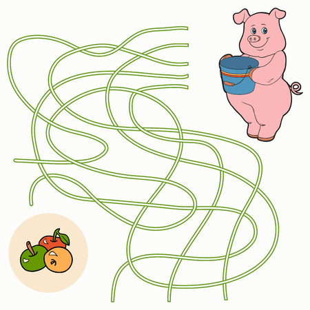rotund: Maze game (pig and apples) Illustration