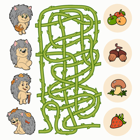 Maze game (hedgehogs and food) Vector