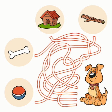 Maze Game: Help the dog get to food Vector