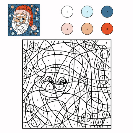 Color by number (Santa Claus) Ilustracja