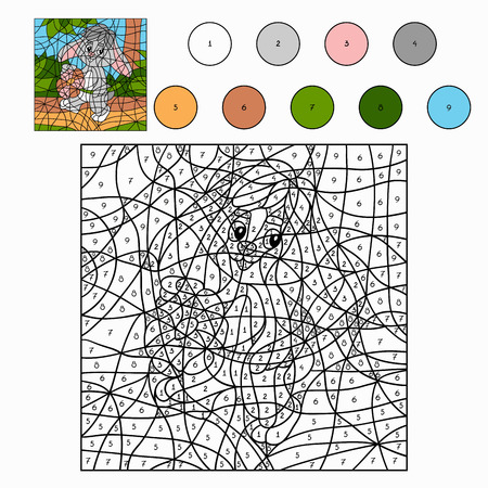 grass area: Color by number (rabbit)