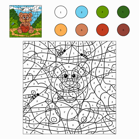 Color by number (bear) Vector