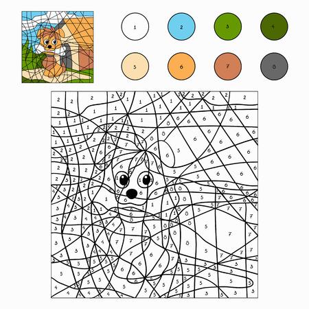 coloration: Color by number (dog) Illustration