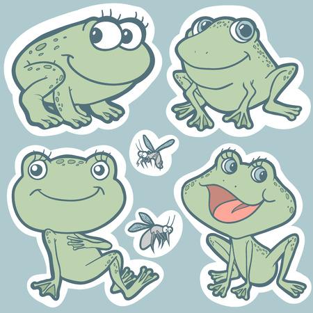 Set of vector elements (frogs) Vector