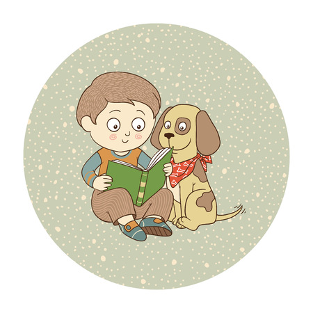 nosey: Boy and dog