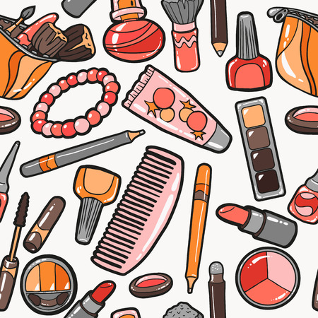 Seamless pattern of cosmetics objects Vector