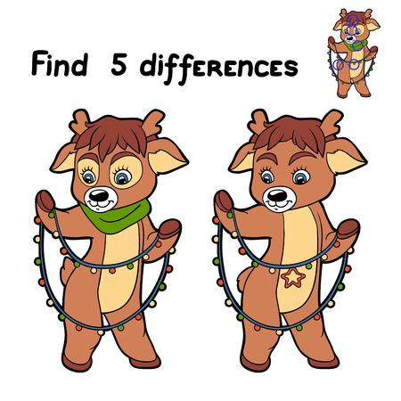 Find 5 differences (deer) Vector