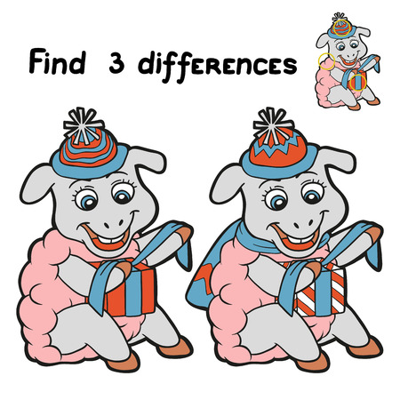 Find 3 differences (sheep) Vector
