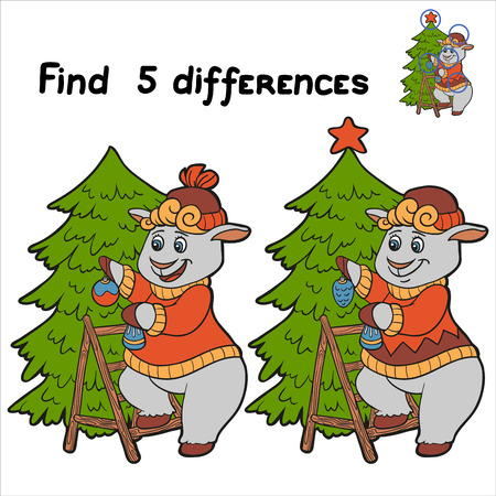 Find 5 differences (sheep) Vector