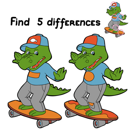 find solution: Find 5 differences (crocodile)