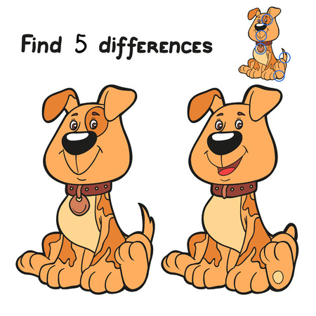 Find 5 differences (dog) Vector