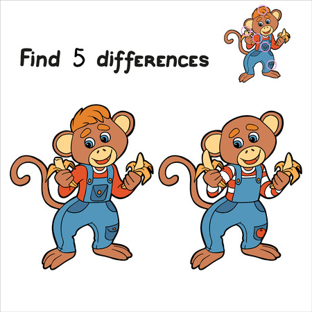 Find 5 differences (monkey) Vector