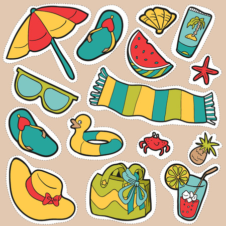 lotion: Set of cartoon beach objects, vector stickers Illustration