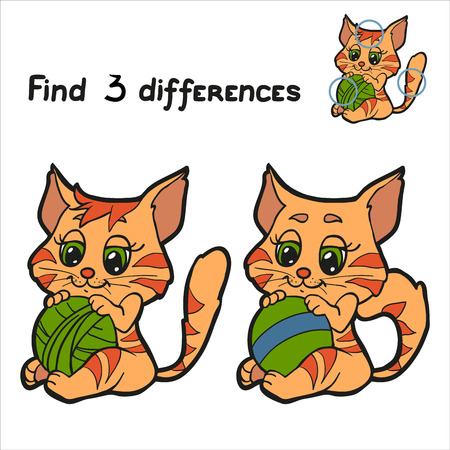 Find 3 differences (cat) Vector