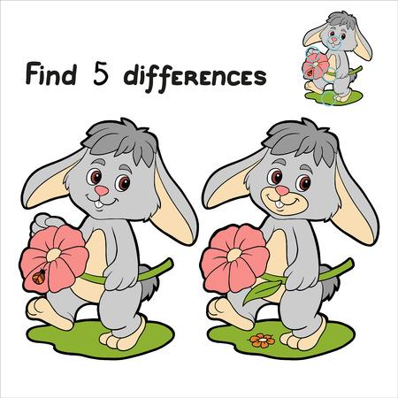 (ウサギ) の 5 の違いを見つける  イラスト・ベクター素材