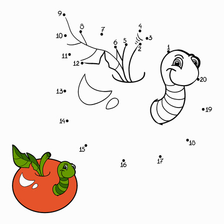 number cartoon: Numbers game (worm and apple)