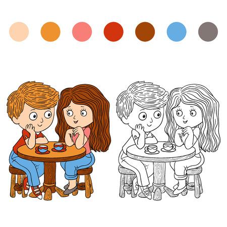Libro Para Colorear (niño Y Perro Ilustraciones Vectoriales, Clip ...