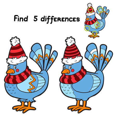 Find 5 differences (bird) Vector