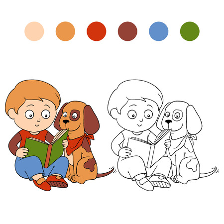 Coloring book (boy and dog Vector