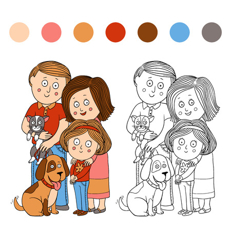 Coloring book (family) Vector