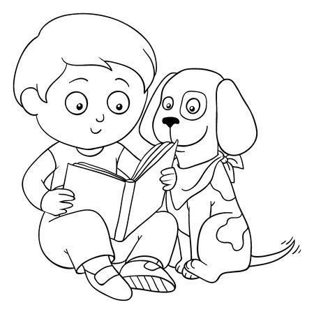 black boys: Coloring book (boy and dog)