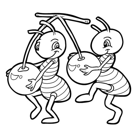color pages: Coloring book (ants and cherries) Illustration