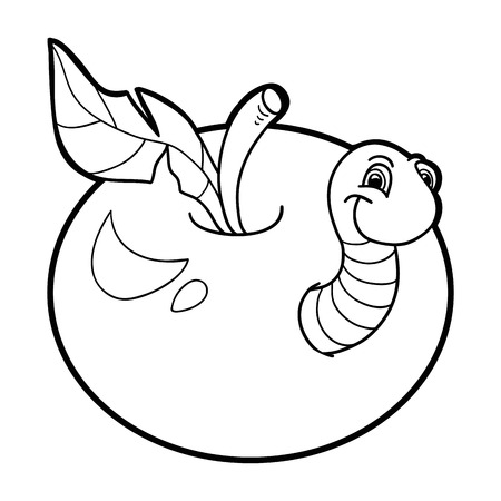 book worm: Coloring book (worm and apple)