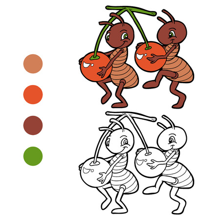 Coloring book (ants and cherries) Vector