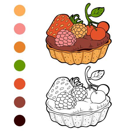 Libro Para Colorear Para Los Niños, Vector De La Torta De Chocolate ...