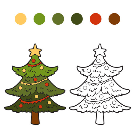 Coloring Book Christmas Tree Stock Vector