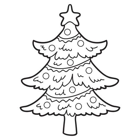 dibujos para colorear: Libro para colorear (árbol de navidad) Vectores