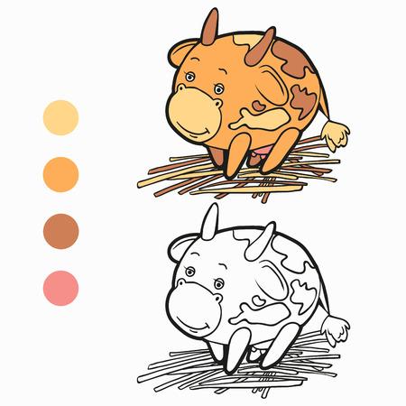 Coloring book (cow) Vector