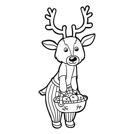 Coloring book (deer) Vector