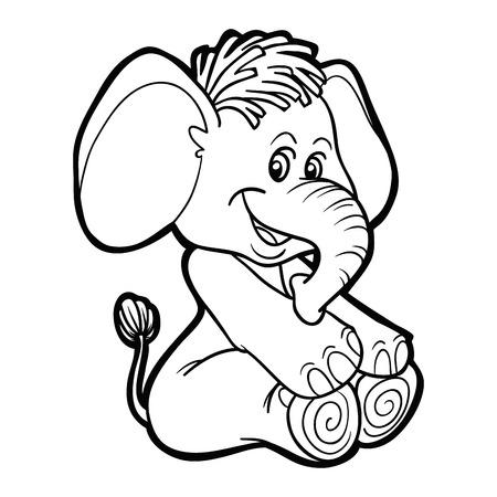 libro caricatura: Libro para colorear (elefante) Vectores