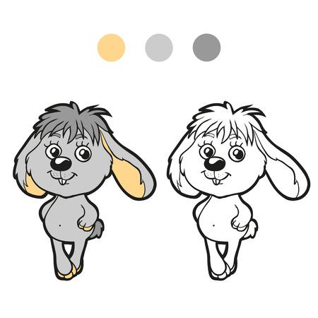 Malbuch Oder Seite. Nettes Kaninchen Auf Einer Wiese Unter Den ...