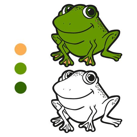 Libro Para Colorear (rana) Ilustraciones Vectoriales, Clip Art ...