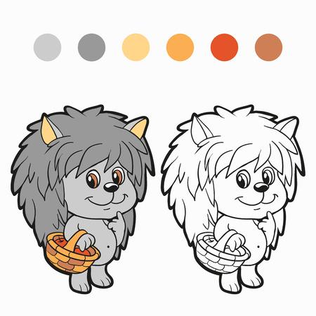 Coloring book (hedgehog) Vector
