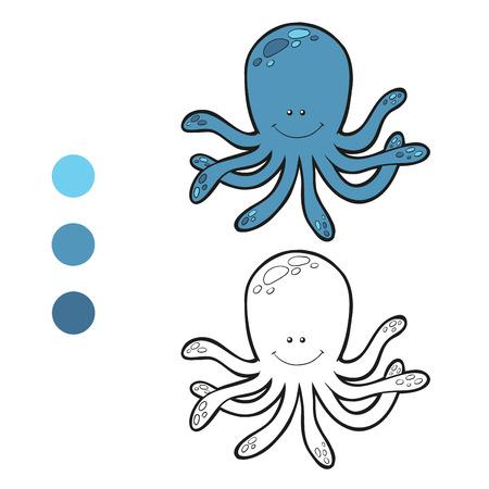 Coloring book (octopus) Vector