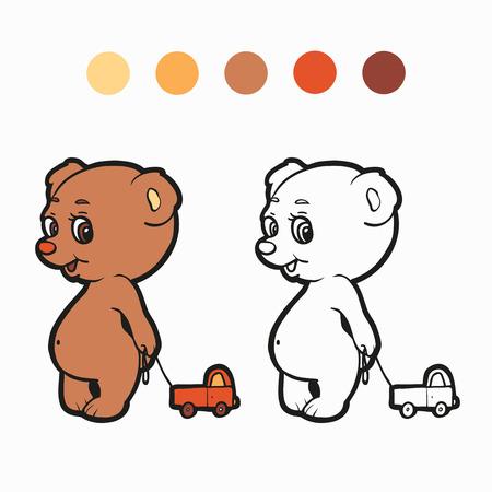 Coloring book (bear) Vector
