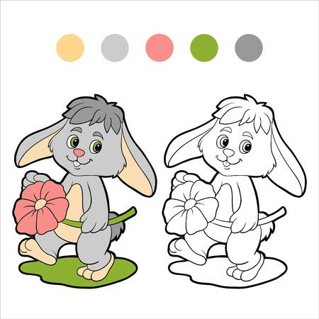 Coloring book (rabbit) Vector