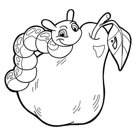 caterpillar cartoon: Coloring book (caterpillar and pear)