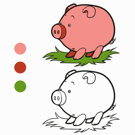coloration: Coloring book (pig) Illustration