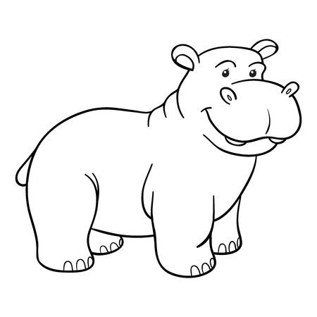 hipopotamo dibujos animados: Libro para colorear (hipopótamo)
