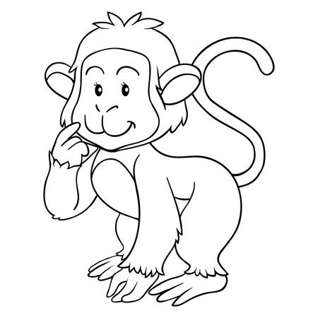 Coloring book (monkey) Vector