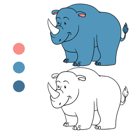 colorless: Coloring book (rhino) Illustration